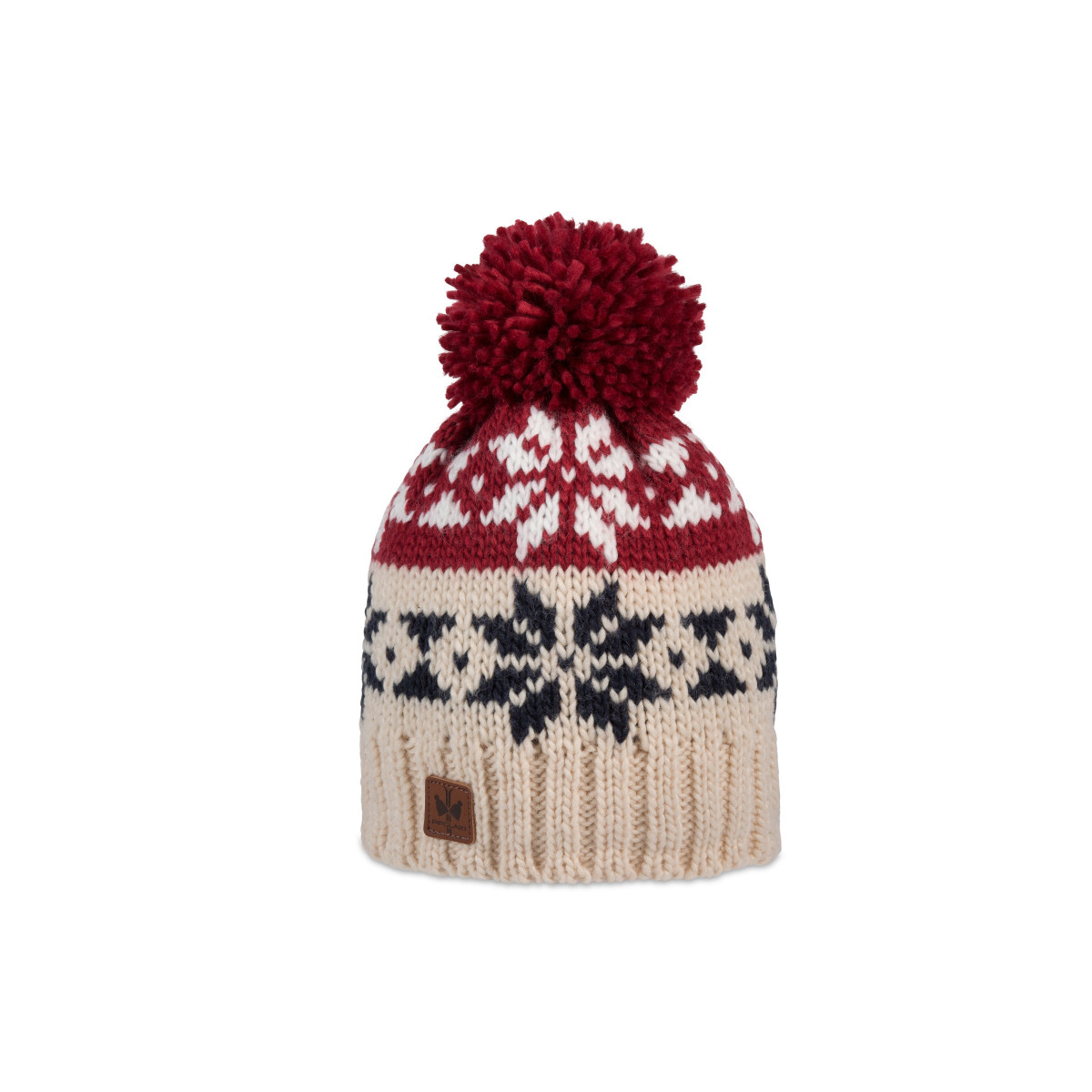Ribbed knitted bobble hat with snowflake patterns and fleece lining